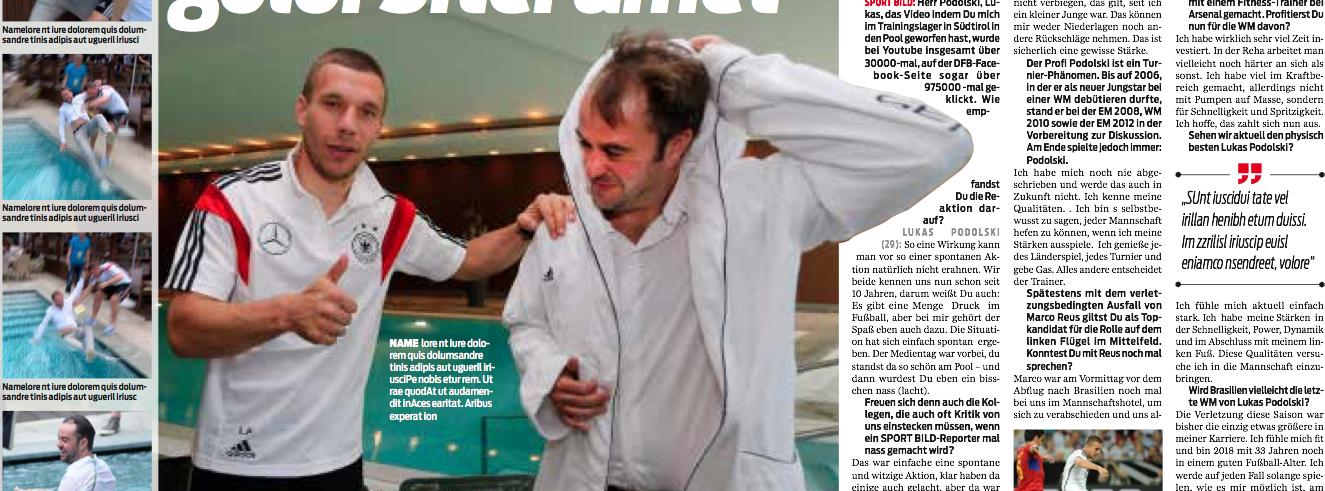 Das Pool-Interview in SPORT BILD: Poldi brachte als Geschenk einen Bademantel mit