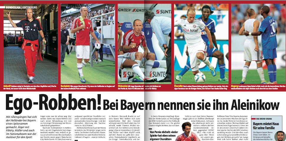 So berichte SPORT BILD im Oktober 2011 erstmals über Robbens Spitznamen im Team