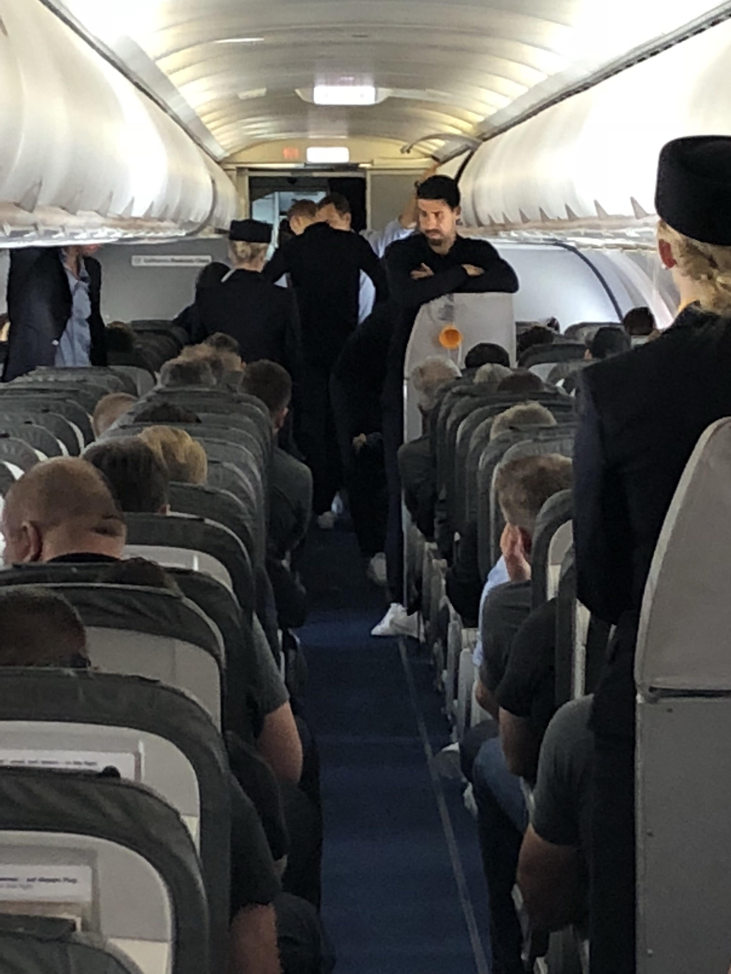 auf dem Rückflug aus Russland im